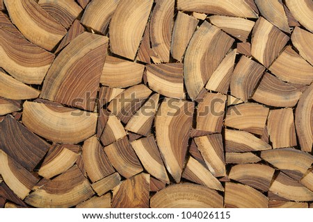 Cross section wood pattern on wall - stock photo