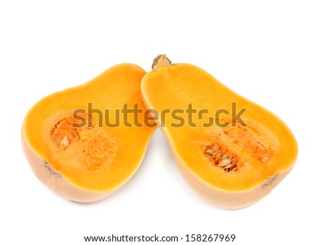 Cross sections of a pumpkin. Isolated on a white background. - stock photo