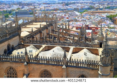 Cross shape of the Cathedral of Saint Mary of the See (Seville Cathedral) seen from above, Seville, Andalusia, Spain - stock photo