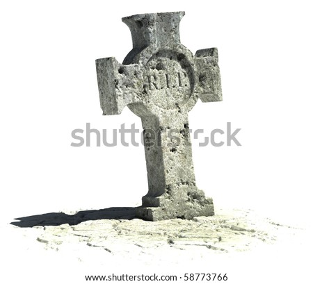 cross shaped gravestone on the white background with rip sign on it - stock photo