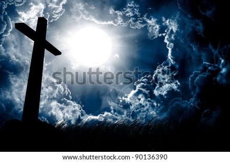 cross silhouette and the sky with full moon - stock photo