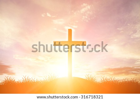 cross silhouette on the mountain at sunset - stock photo