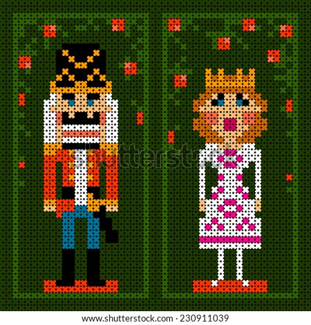 cross-stitch christmas card with nutcracker and princess - stock photo