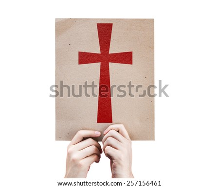 Cross Symbol card isolated on white background - stock photo