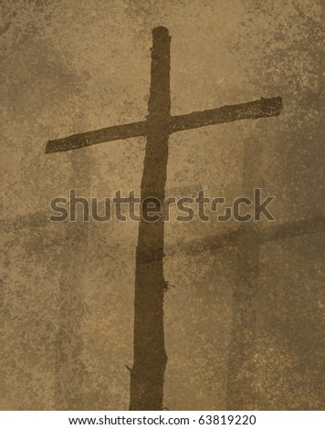 Cross symbol in warm brown background with texture - stock photo