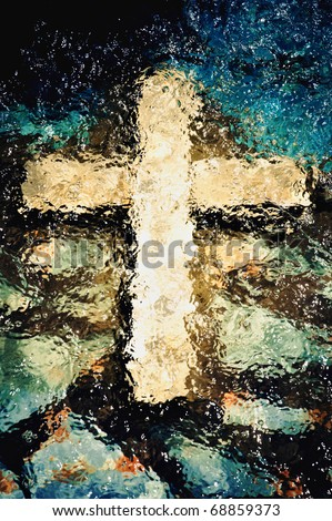Cross under the water. Christian holy symbol - stock photo