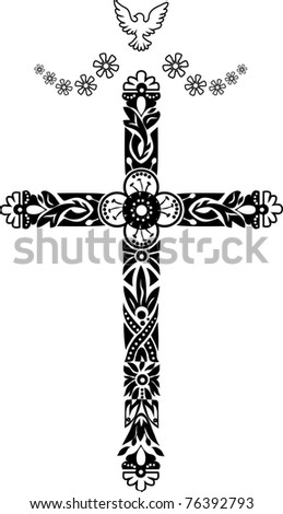 Cross with decorative tips and an ornament with flowers and leaves