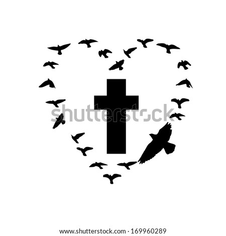 cross with flying birds.   - stock photo