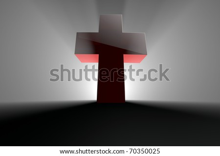 Cross with light from behind - stock photo