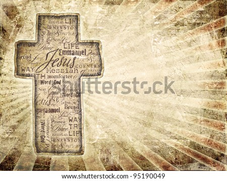 Cross With Religious Words  on grunge background. - stock photo