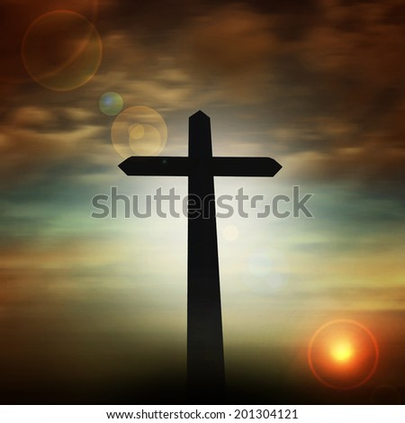 cross  with sunset sky and clouds background - stock photo