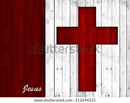 Cross with wood background - stock photo