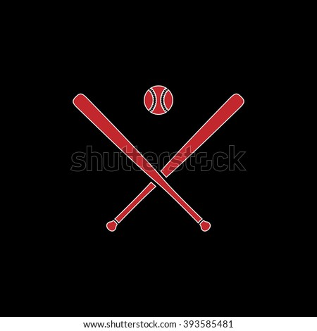 Crossed baseball bats and ball. flat symbol pictogram on black background. red simple icon with white stroke - stock photo