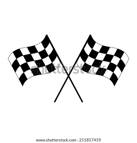 Crossed black and white checkered flags logo waving in the wind conceptual of motor sport, isolated on white