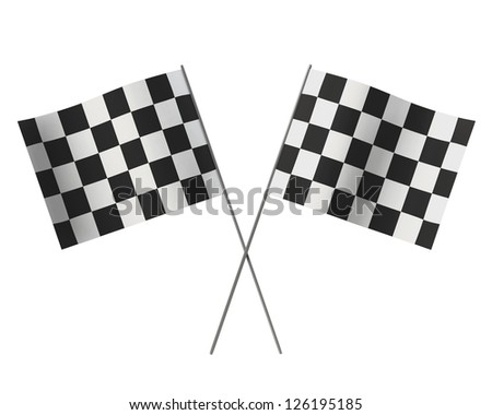 Crossed chequered flag isolated on white background