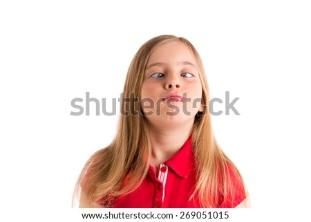 crossed eyes blond kid girl funny expression gesture in white background - stock photo