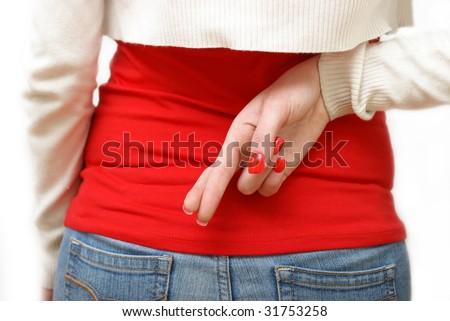 Crossed Fingers - stock photo