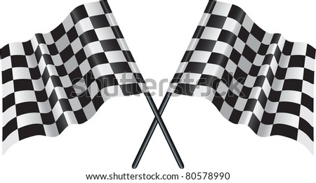 crossed flags  representing sport or finishing lines - stock photo