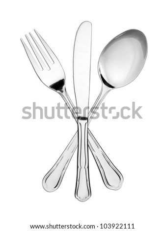 Crossed fork, spoon and knife isolated on white - stock photo