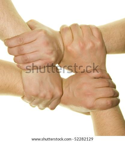 crossed hands isolated over white background - stock photo