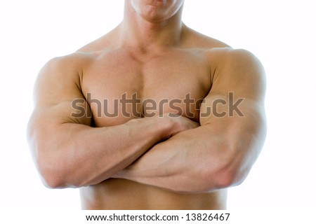 Crossed hands on the chest - stock photo