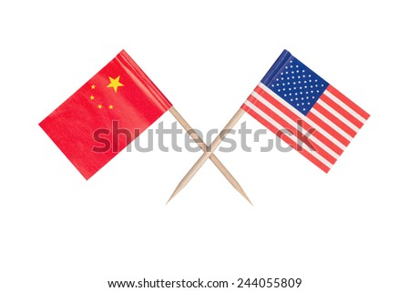 Crossed mini flag USA and China. Isolated on white background