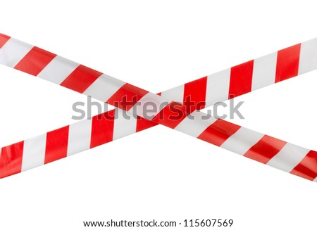 Crossed red white warning tape isolated on white - stock photo