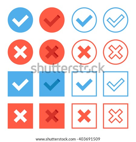 Crosses and check marks set. Red and blue web buttons set. Thin line, outline, flat design elements for web banners, web sites, mobile apps, infographics, printed materials. Flat icons set - stock photo