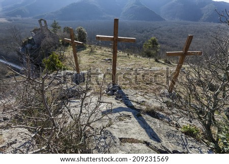 Crosses and old church on the top of the mountains, Croatia - stock photo