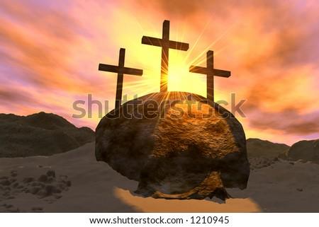 Crosses and Skull - stock photo