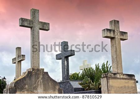 Crosses in the catholic cemetery of Alcudia (Majorca - Balearic Islands) - stock photo