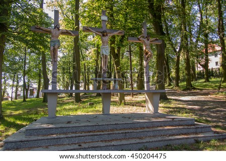 Crosses Jesus and the two thieves on Calvary. International Shrine of St. Anne, Mount St. Anna, Poland - stock photo