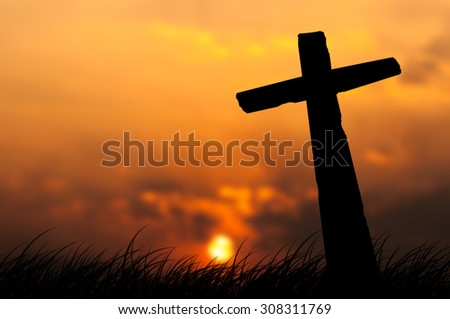 Crosses on a hill - stock photo