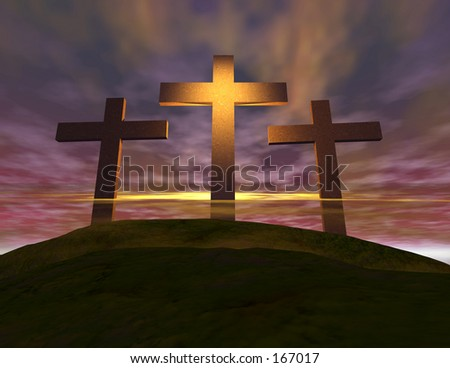 Crosses on hill