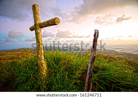 Crosses on Mt. Lam Lam summit on Guam