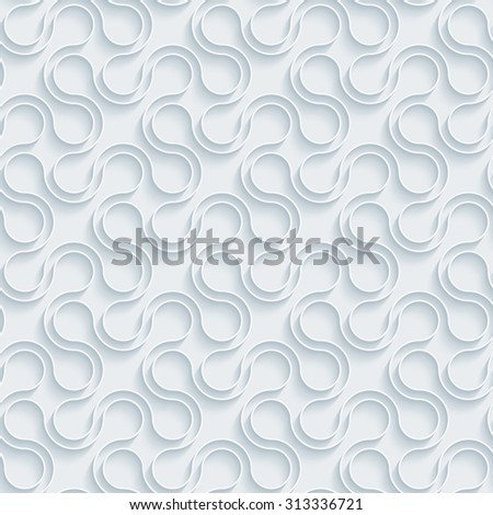 Crosses. White paper with outline extrude effect. Abstract 3d seamless background.