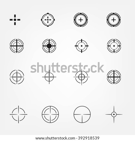 Crosshair icons set for computer games shooters or original mouse cursors pointers for computer programs. Sixteen vector target aim symbols. Circles and rounded squares buttons