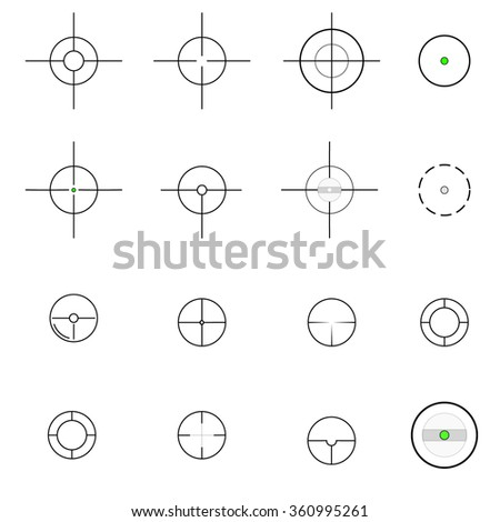 Crosshairs icons set illustration