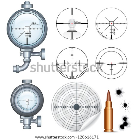 Crosshairs Set. Illustrations of Sniper Target Scopes, Optic Sight, Cross hairs, Target and Bullet Holes. Isolated on White Background - stock photo