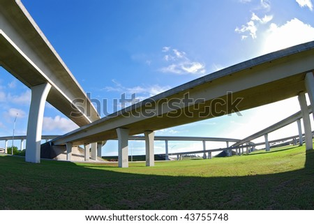 Crossing expressway. - stock photo