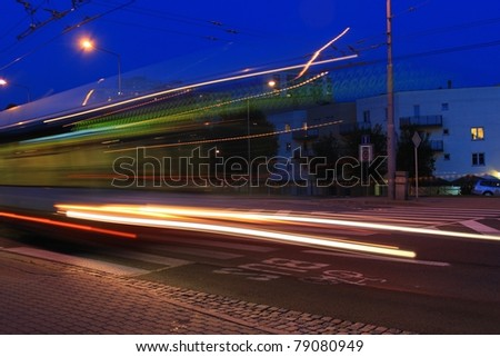 crossing for pedestrians at night, city Brno in Czech republic - stock photo