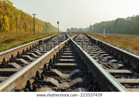 crossing of two railroad close up - stock photo