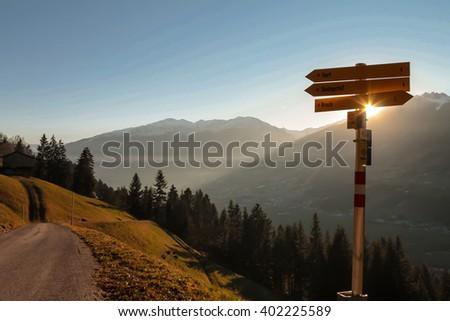 Crossing paths, Zillertal Alps, Austria - stock photo
