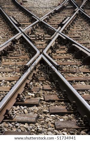 Crossing railways - stock photo