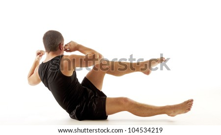 Crossing Sit Up - stock photo