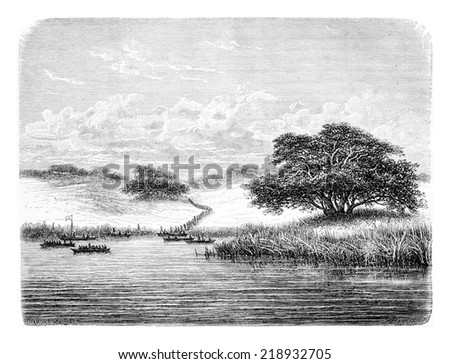 Crossing the Kwanza River, in Angola, Southern Africa, drawing by De Bar based on the English edition, vintage illustration. Le Tour du Monde, Travel Journal, 1881 - stock photo