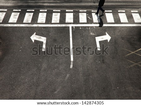 Crossroad choice with pedestrian crossing. - stock photo