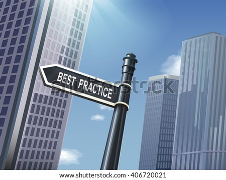 crossroad 3d black road sign saying best practice - stock photo