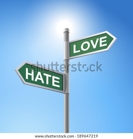 crossroad 3d road sign saying hate and love