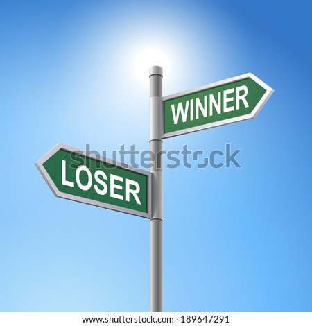 crossroad 3d road sign saying loser and winner